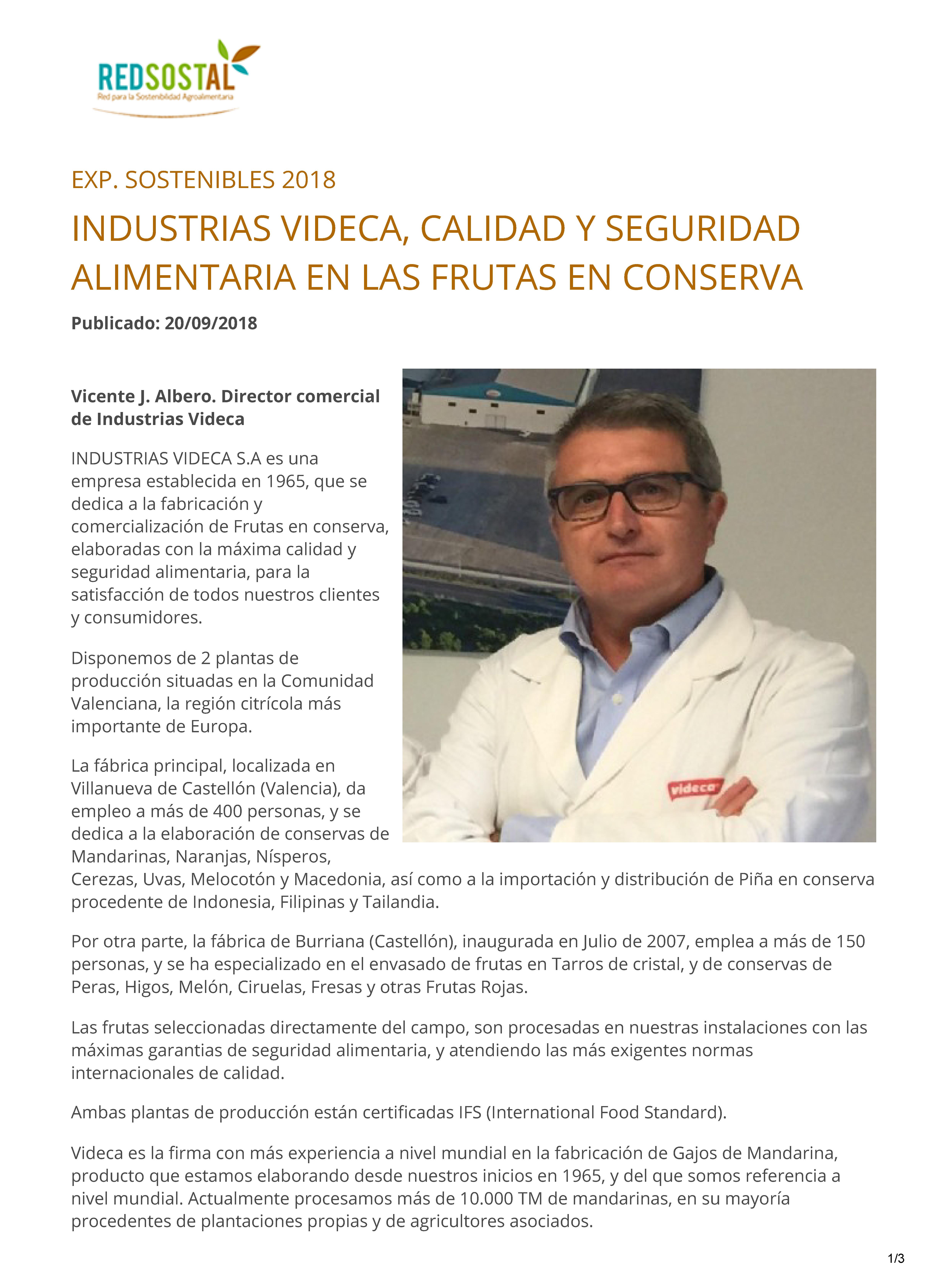 VIDECA Exp. Sostenibles 2018 Plataforma de Sostenibilidad Integral Agroalimentaria - Redsostal_Página_1