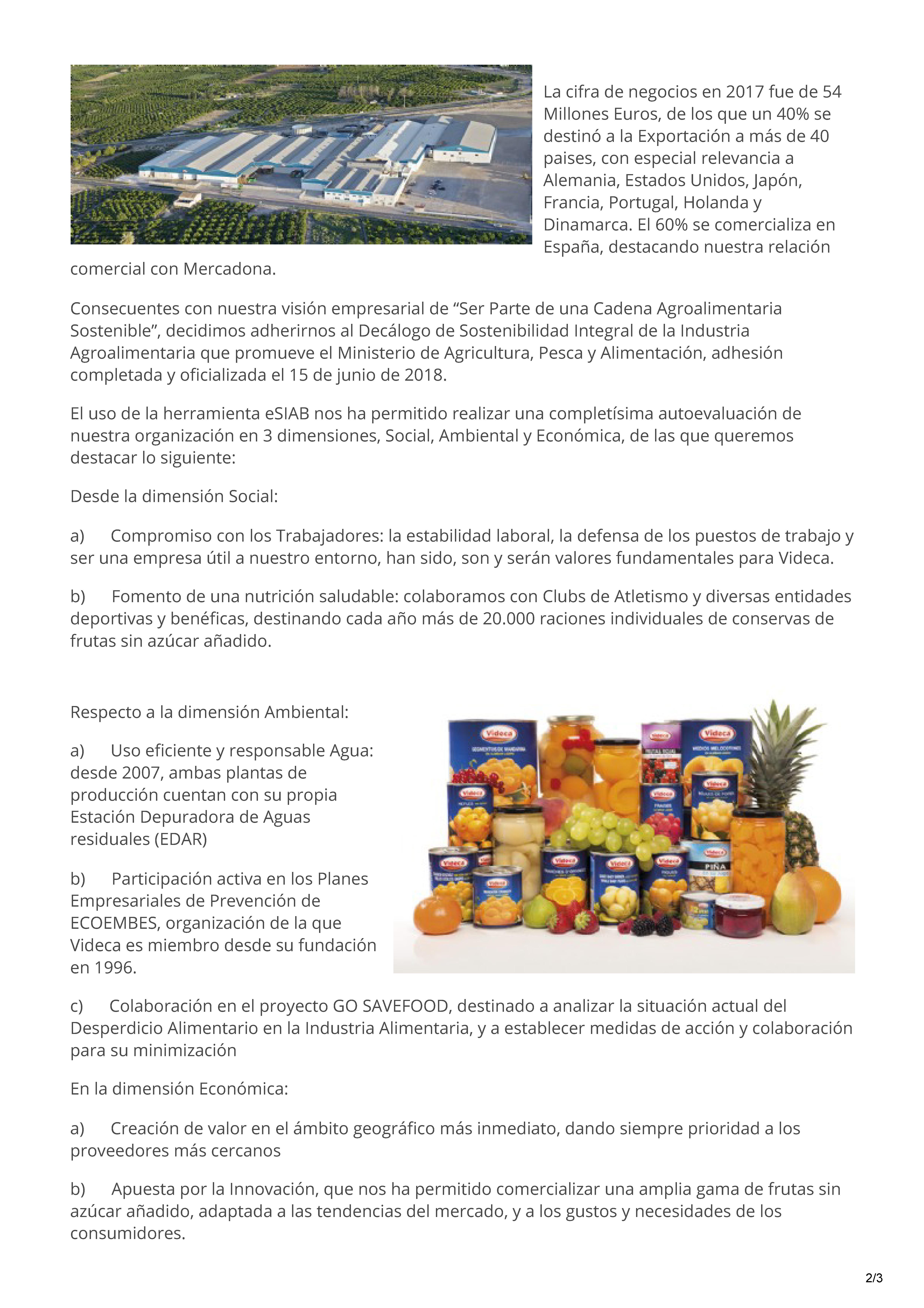 VIDECA Exp. Sostenibles 2018 Plataforma de Sostenibilidad Integral Agroalimentaria - Redsostal_Página_2
