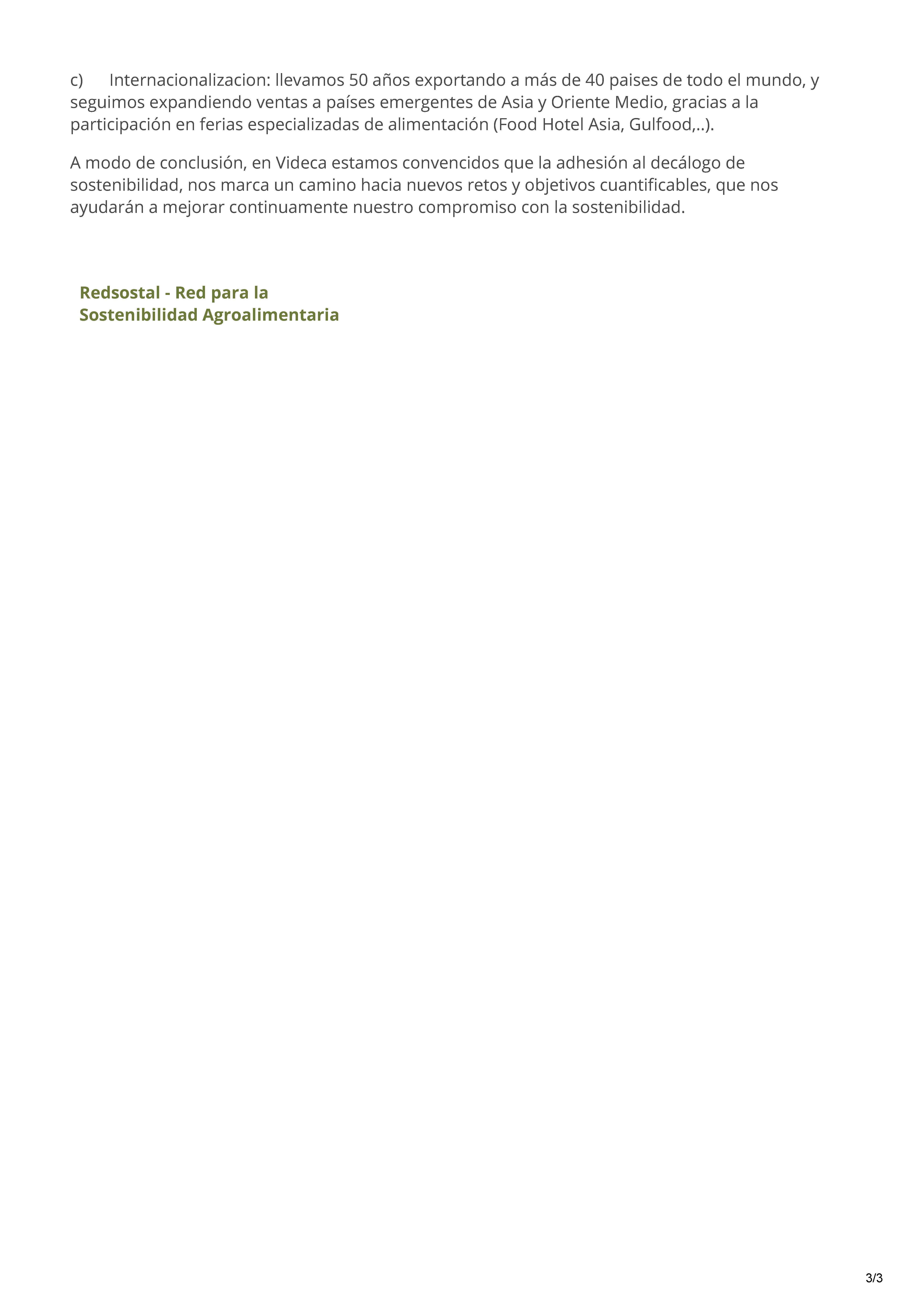 VIDECA Exp. Sostenibles 2018 Plataforma de Sostenibilidad Integral Agroalimentaria - Redsostal_Página_3